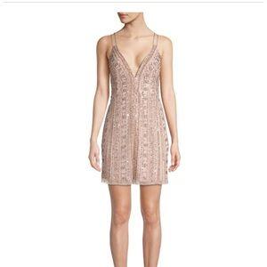 Aidan Mattox Blush Embellished Cocktail Dress
